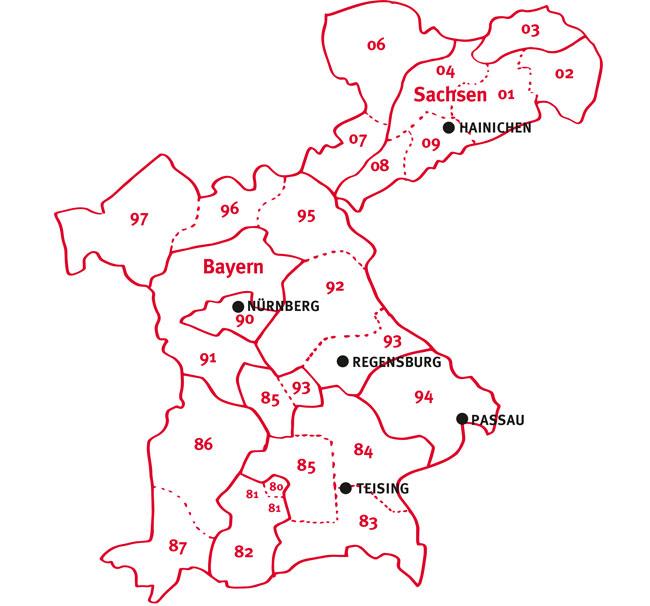 Getränke Geins - Vertriebsgebiete und Ansprechpartner - Karte für Gastro - Standorte