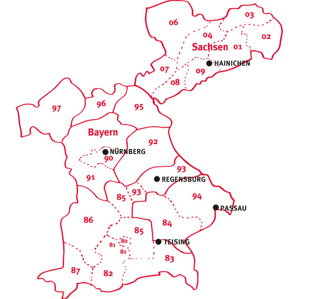 Getränke Geins - Vertriebsgebiete und Ansprechpartner - Karte für Handel - Standorte
